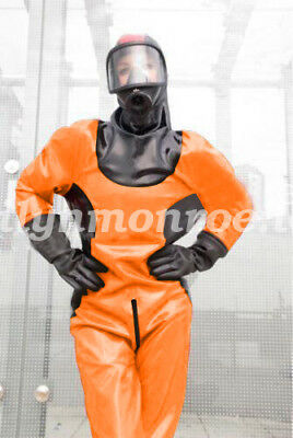 New Latex Rubber Gummi Bodysuit Kostüm Costume Ball Firefighter Catsuit XXS-XXL