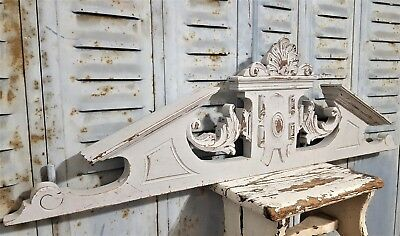 "Shabby Hand Carved Wood Pediment 36"" Antique French Gothic Architectural Salvage"