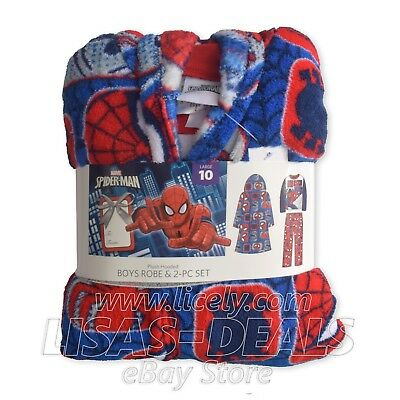 800e9db0f5 Boys Marvel Spider-Man PLUSH Hooded ROBE 2 Piece Fleece Set Sleepwear Red XS