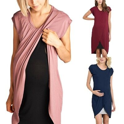 UK 10-24 Maternity Womens O Neck Short Sleeve Nursing Pregnancy Midi Shirt Dress