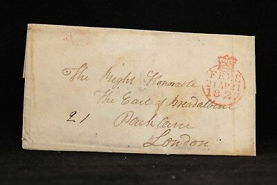 Scotland: 1827 Stampless Cover to London, Red Crowned Free Marking
