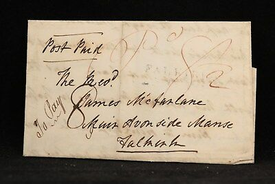 Scotland: Mauchlin 1837 Stampless Cover, 8-1/2  Rate Included 1/2p Mail Tax