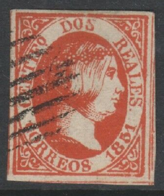 Spain - 1851, 2r Red - Thin Paper - 4 Margins stamp - RARE! - Used - SG 11
