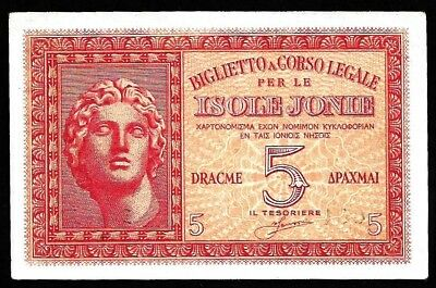 5 Drachme From Greece  Isole Jonie Unc