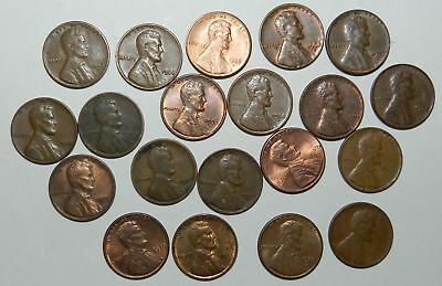 U.S.A.  LOT OF 20 LINCOLN CENTS -  Memorial & Wheat