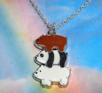 """WE BARE BEARS NECKLACE 16"""" SILVER CHAIN IN GIFT BAG Grizzly Panda Ice Bear"""