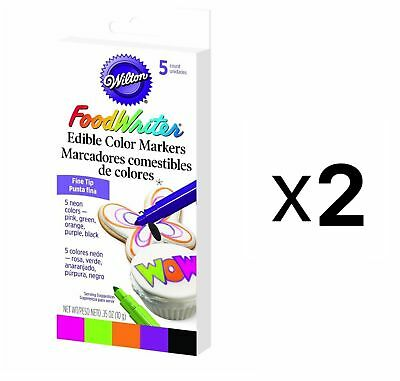Wilton FineTip Food Writer Edible Color Markers Cake Fondant Decorating (2-Pack)