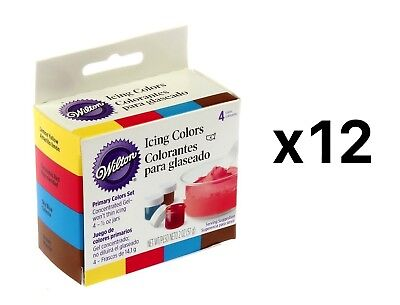 Wilton Primary Colors, Set Of 4 Cake Decorating Frosting Food Coloring (12-Pack)