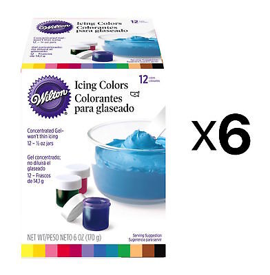 Wilton 1/2-Ounce Certified-Kosher Icing Frosting Food Colors Set Of 12 (6-Pack)