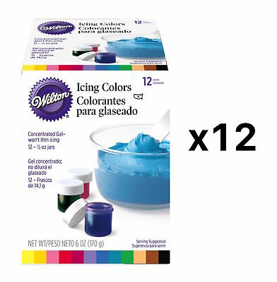 Wilton 1/2-Ounce Certified-Kosher Icing Frosting Food Colors Set Of 12 (12-Pack)