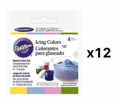 Wilton Garden Tone 4-Piece Set Cake Decorating Food Frosting Coloring (12-Pack)