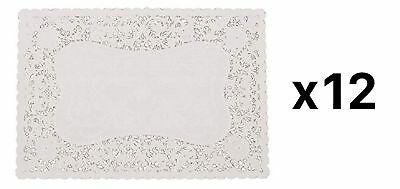 """Fox Run 9.75"""" x 14.5"""" Rectangle White Lace Paper Doily, Kitchen (12 Packs of 12)"""