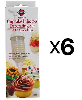 Norpro Cake Icing Decorating Set Frosting 8 Tips w/ Filling Injector (6-Pack)