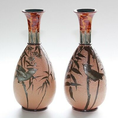 Doulton Lambeth, Florence E Barlow, Pair Of Bird Decorated Vases.
