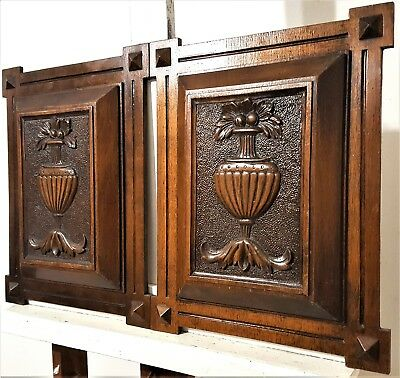 Solid Pair Hand Carved Wood Panel Antique French Gothic Architectural Salvage