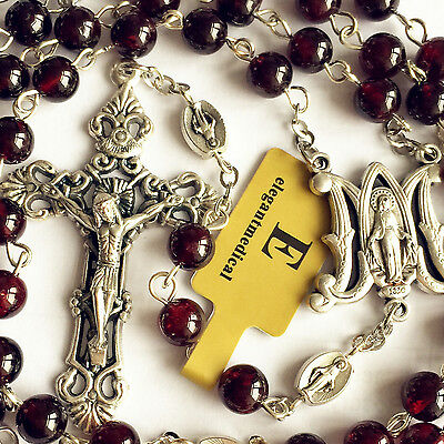 GARNET GEMSTONE BEADS Our Lady Of Virgin Mary Rosary Catholic Necklace Cross Box