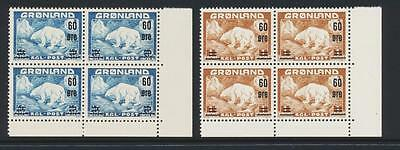 GREENLAND 1956 POLAR BEAR,SURCHARGE SET CORNER BLOCKS,VF NH OG Sc#39-40SEE BELOW