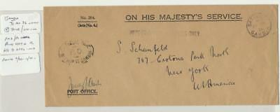 Gambia 1936 Ohms Cover Official Paid H/s To Usa (See Below)