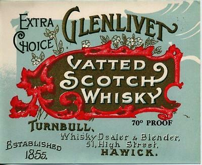 Original Early Label  For Glenlivet Vatted Scotch Whisky Turnbull Hawick