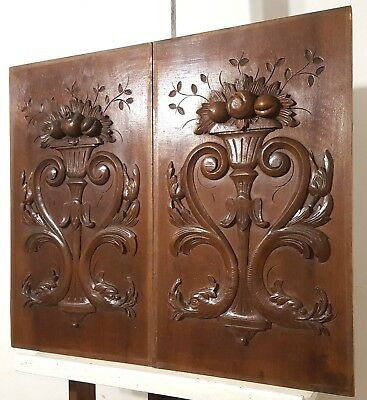 Hand Carved Wood Panel Pair Antique French Dragon Fire Architectural Salvage
