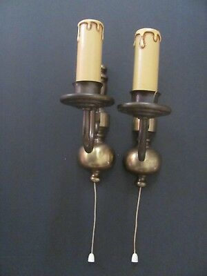 Antique Electric Wall Lights Antique Brass Pair