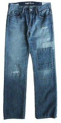 Kids GAP Boys LIGHT BLUE Denim Faded Patch Straight Jeans Trousers 7-16yr £22.95