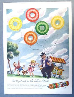 EYECATCHING Original 1944 Life Savers Candy Ad GET RICH IN BALLOON BUSINESS