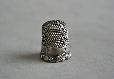 Thimble Sterling Silver Ketcham & Mc Dougall Size 8 Antique Art Nouveau 5.49 Gr