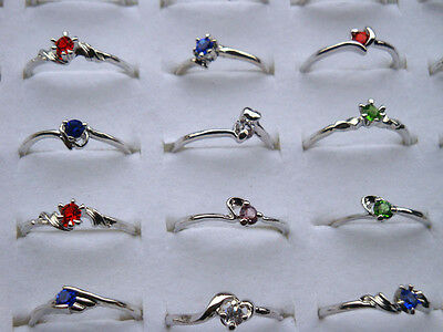 30Pcs Wholesale Lots Fashion Jewelry Crystal CZ Rhinestone Silver Finger Ring AA