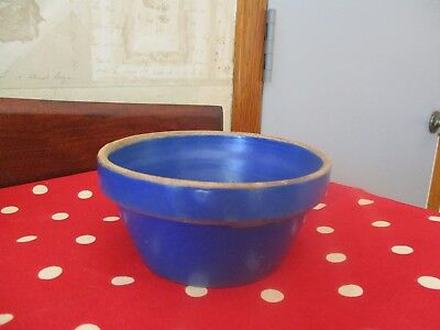 Vintage Blue Stoneware Crock Bowl Clay City Pottery USA  Small 5 inches across