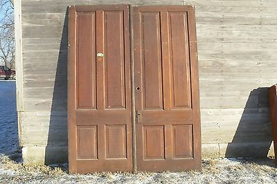 Antique Victorian 8' x 3' Fir Pine Doors 1890s Architectural Salvage Pocket Vtg