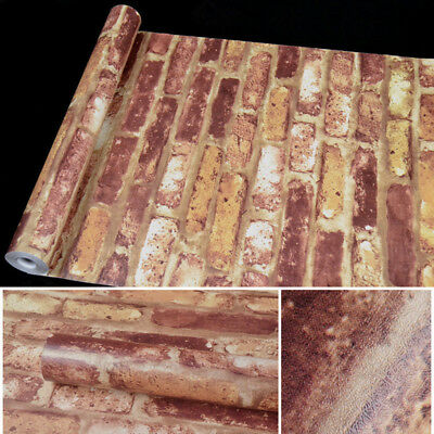 10M 3D Retro Vintage Wallpaper Mural Roll Realistic Stone Brick Wall Background