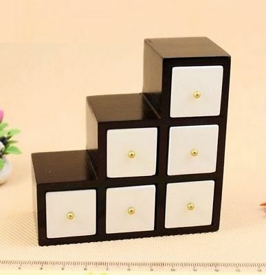 1:12 Dollhouse Miniature Doll Furniture Modern White With Black Wooden Cabinet