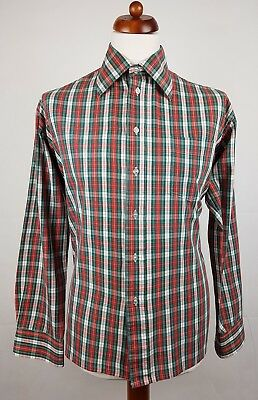 "Vtg 1970s L-Sleeve Green and Red Check Polycotton Shirt Mod Disco -17""/XL- EU36"