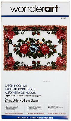 Elegant Roses Latch Hook Kit By Wonderart 426127 86cm Wide 61cm Long