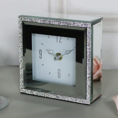 Small ornate mirrored diamante mantel shelf bedside clock shabby vintage chic