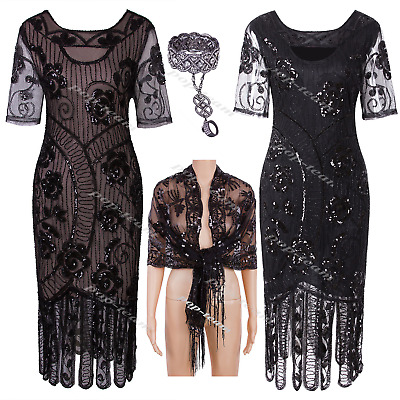 Vintage 1920s Flapper Beaded Gatsby Costume Party Prom Evening Cocktail Dress