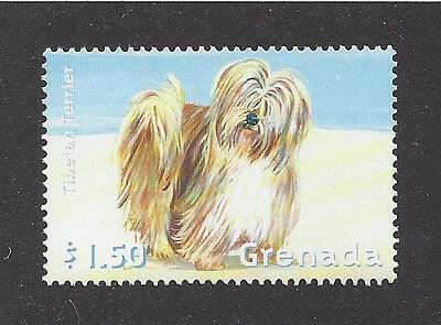 Dog Art Full Body Study Postage Stamp TIBETAN TERRIER Grenada Beach MNH