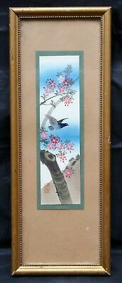 Antique Vintage Chinese Oriental Water Colour of a Bird and Blossom Signed