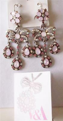 V & A The Victoria & Albert Museum London, Pink Garland Drop Earrings Rrp £120