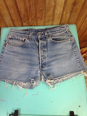 "vintage levis cut-off cut-offs denim jean shorts button fly 501 30 1/2"" W SH81"