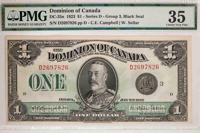 1923 Dominion of Canada $1 PMG VF35 DC-25n Series D Black Seal Item#T7226