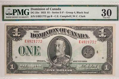 1923 Dominion of Canada $1 PMG VF35 DC-25o Series E-F Black Seal Item#T7227