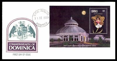 Dominica $5 Flower Botanical Garden Souvenir Sheet FDC 1989 Unsealed Unaddressed