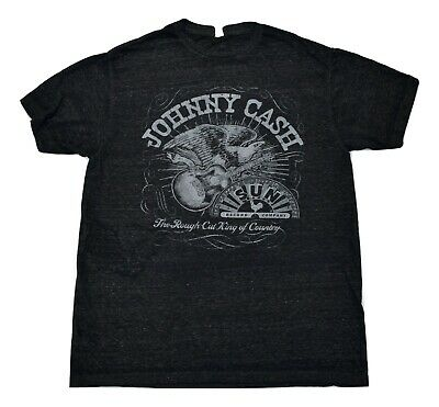 Mens Johnny Cash Eagle & Guitar Rough Cut King of Country Super Soft Shirt New L