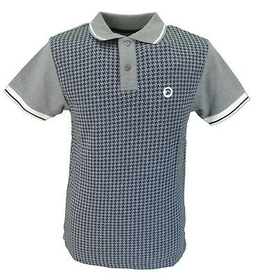 Trojan Records Grey Melange Houndstooth Front Polo Shirt