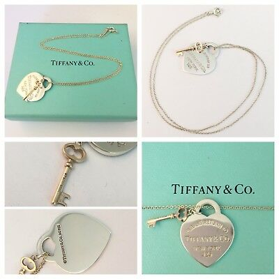 Beautiful Sterling Silver Return To Tiffany Heart And Gold Rubedo Key  Necklace