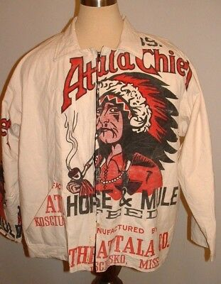 Ultra RARE Feed Sack Attala Chief Indian Jacket vintage Coat Horse & Mule Miss.