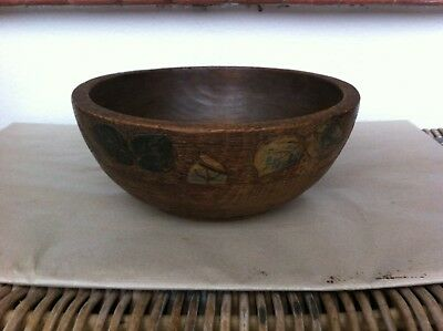 LOVELY LARGE DECORATIVE PAINTED POKER WORK WOODEN BOWL 11 inches