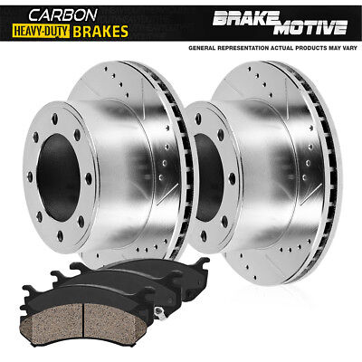 Ford Excursion F250 F350 Front Drill Slot Brake Rotors & Carbon Ceramic Pads 4WD